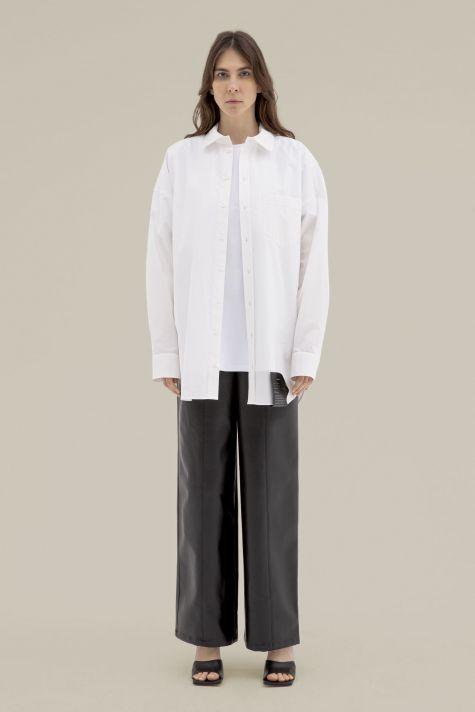 поплиновая рубашка оверсайз