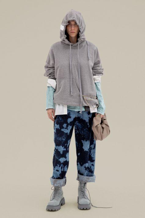 Asymmetrical cotton hoodie