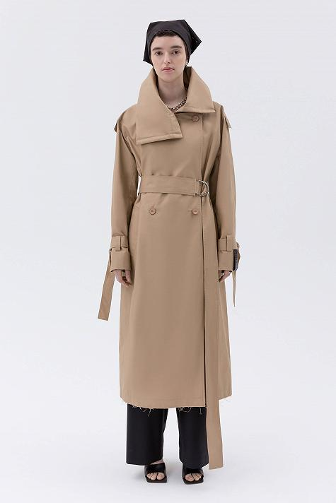 Oversized trench coat with high collar