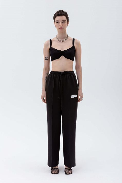Knit trousers with elasticated waist