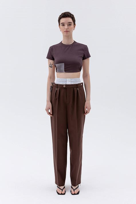Straight leg trousers with double belt
