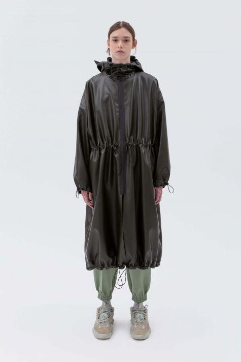 oversized zipped raincoat with hood
